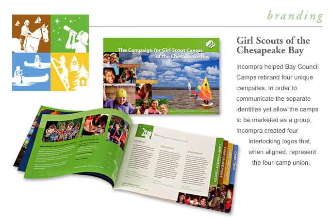 Branding - Girl Scouts of the Chesapeake Bay - Incompra helped Bay Council Camps re-brand four unique campsites.  In order to communicate the separate identities yet allow the camps to be marketed as a group, Incompra created four interlocking logos that, when aligned, represent the four-camp union.